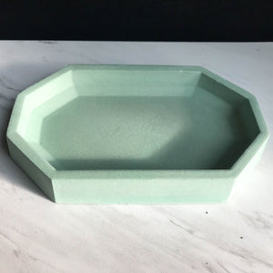 Concrete Octagon Catch All Dish - Mint