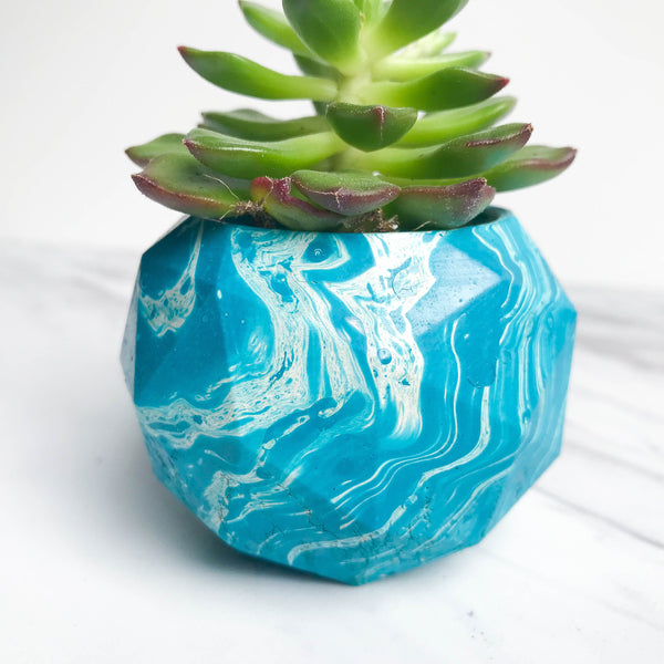 Marbled Mini Concrete Geometric Sphere Planter