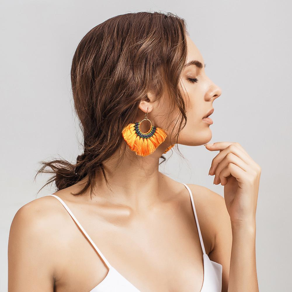 Boho-chic Multi-colored Tassel Earrings