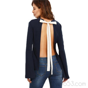 Backless Long Sleeve Top-Women's Tops-NUVO53