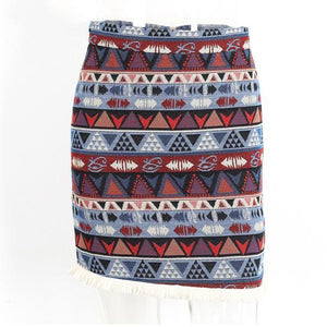 Boho Vintage Pencil Mini Skirt-Skirts-NUVO53