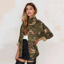 Camouflage Long Sleeve Loose Jacket-Women's Coats and Jackets-NUVO53