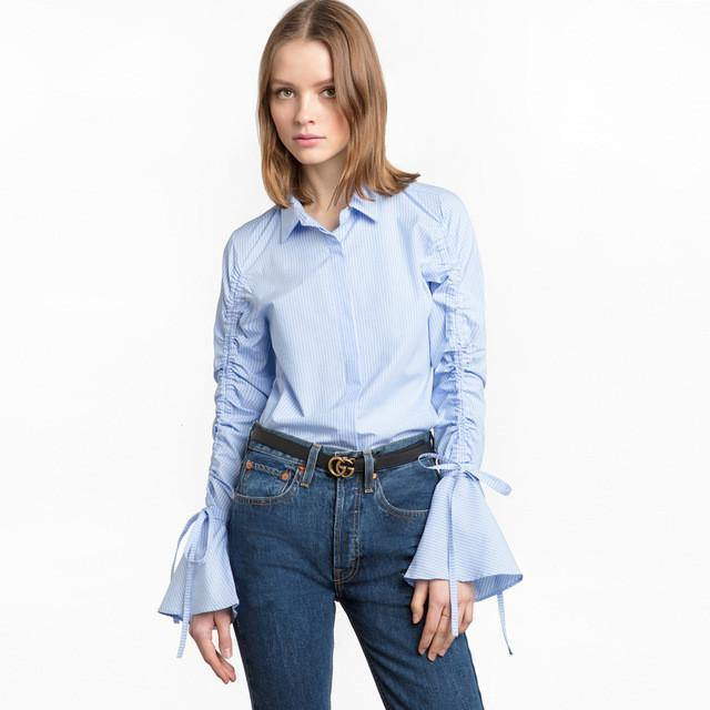 Casual Flare Lace-Up Stripe Blouse-Women's Tops-NUVO53