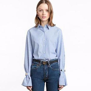 Casual Striped Button Sleeve Flared Blouse-Women's Tops-NUVO53