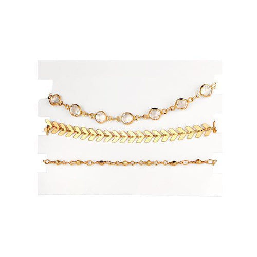 Chain Crystals Bracelet 3 Piece Set-Fashion Jewelry Sets-NUVO53