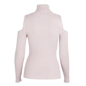 Cold Shoulder Turtleneck Knit Sweater-Women's Coats and Jackets-NUVO53