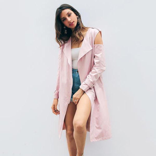 Cold Shoulder Windbreaker Trench Coat-Women's Coats and Jackets-NUVO53