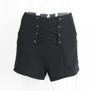 Cross Lace-Up Shorts-Women's Pants and Shorts-NUVO53