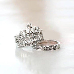 Crystal Imperial Crown FInger Ring Set 2 Piece Set-rings-NUVO53
