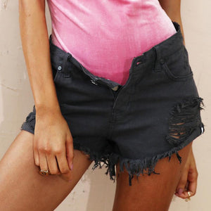 Distressed Denim Shorts-Women's Pants and Shorts-NUVO53