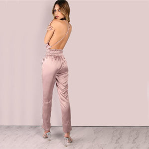 Dusty Pink Satin Jumpsuit-Jumpsuits and Rompers-NUVO53
