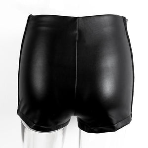 Faux Leather Casual High Rise Shorts-Women's Pants and Shorts-NUVO53
