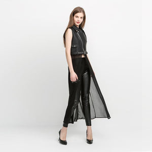 Faux Leather Jacket Skirt-Women's Coats and Jackets-NUVO53