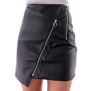 Faux Leather Punk Mini Skirt-Skirts-NUVO53