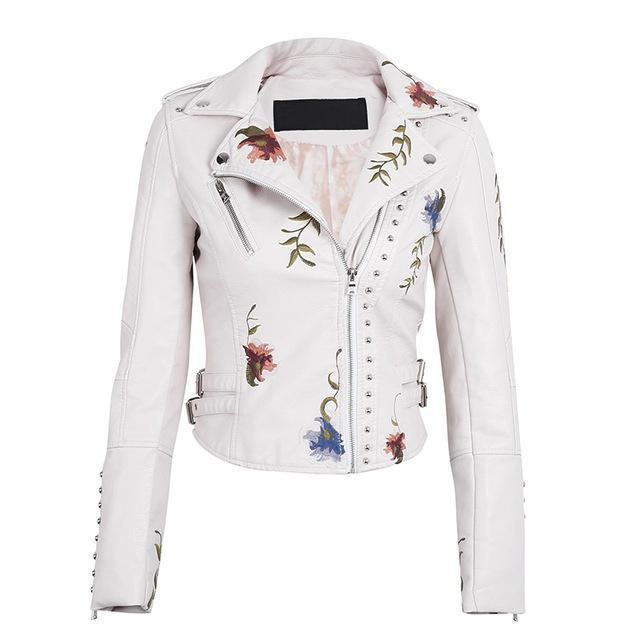 Floral and Stud Faux Leather Jacket-Women's Coats and Jackets-NUVO53