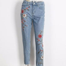 Floral Embroidery Light Blue Capri Pants-Women's Pants and Shorts-NUVO53