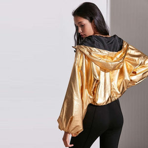 Gold Hoodie Jacket-Women's Coats and Jackets-NUVO53