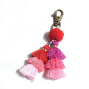Gradient Colors Pom Pom Tassel Handmade Car Bag Key Ring-Key Rings-NUVO53