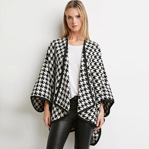 Houndstooth Asymmetrical Coat-Women's Coats and Jackets-NUVO53