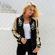 Japanese Embroidery Satin Bomber Jacket-Women's Coats and Jackets-NUVO53