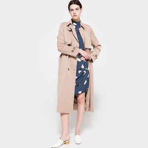 Khaki Double Breasted Trench Coat-Women's Coats and Jackets-NUVO53