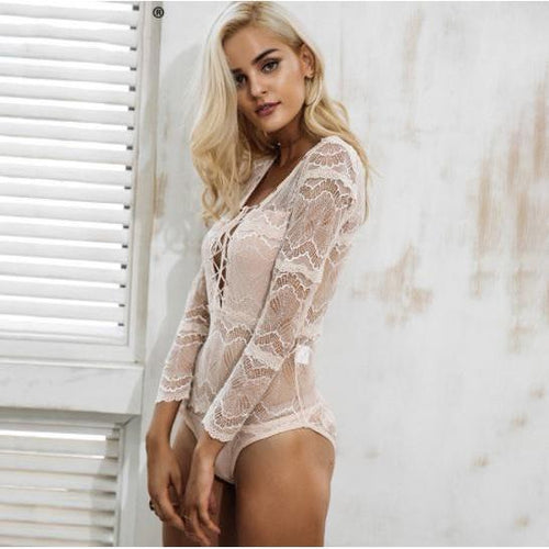 Lace Intimate Bodysuit-Women's Bodysuits-NUVO53
