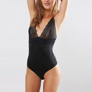 Lace Open Back Bodysuit-Women's Bodysuits-NUVO53
