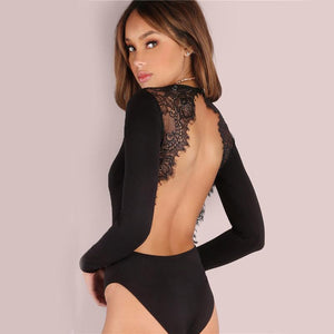 Lace Trim Back Bodysuit-Women's Bodysuits-NUVO53