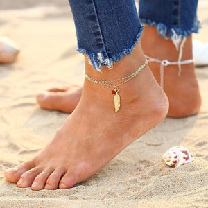 Leaf Bead Gold Silver Foot Chain Anklet-Anklets-NUVO53