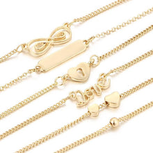 Love Heart Infinity Bracelets 6 Piece Set-Fashion Jewelry Sets-NUVO53