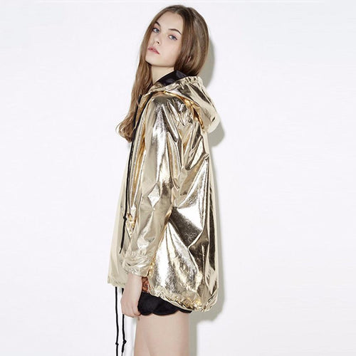 Metallic Hoodie Jacket-Women's Coats and Jackets-NUVO53