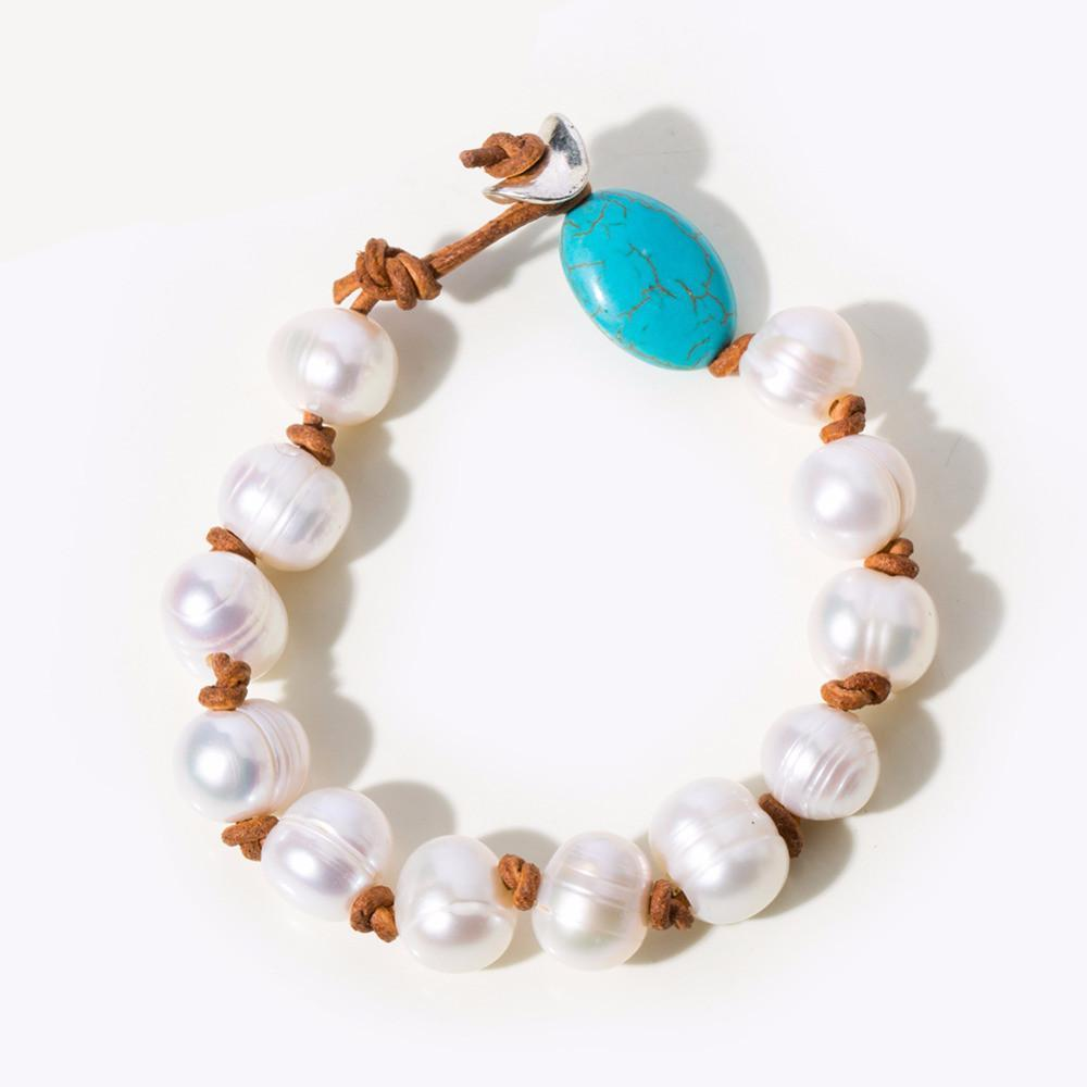 Natural Pearls Turquoise Stone Bracelet-Bracelets-NUVO53