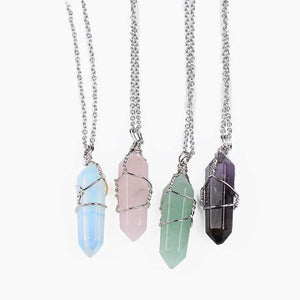 Natural Quartz Pendant Copper Wired Crystal Chain Necklace-Necklace-NUVO53