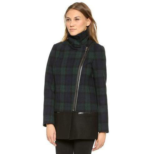 Plaid Wool Long Jacket-Women's Coats and Jackets-NUVO53