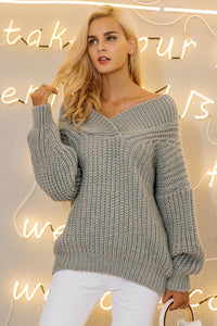 Off-Shoulder Knitted Oversized Sweater