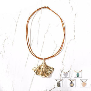 Real Leaf Genuine Leather Copper Finish Boho Necklace 6 colors-Necklace-NUVO53