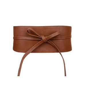 Ribbon Waistband Faux Leather Wrap Belt-Belts-NUVO53