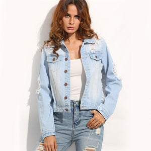Ripped Denim Jacket-Women's Coats and Jackets-NUVO53