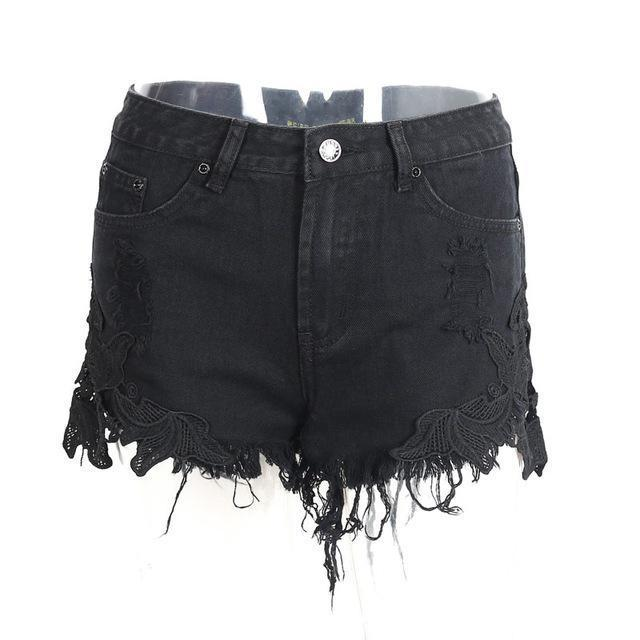 Ripped Pocket Embroidered Shorts-Women's Pants and Shorts-NUVO53