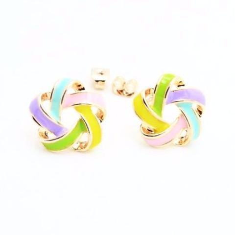 Rose Gold Enamel Gold Colored Flower Stud Earrings-earrings-NUVO53