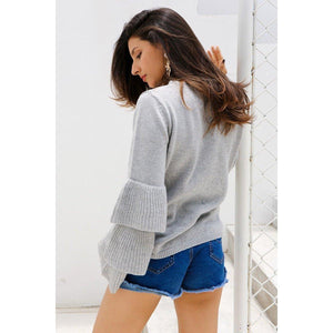 Ruffle Flare Knit Sweater-Women's Coats and Jackets-NUVO53
