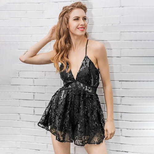 Sequin Padded Romper-Jumpsuits and Rompers-NUVO53
