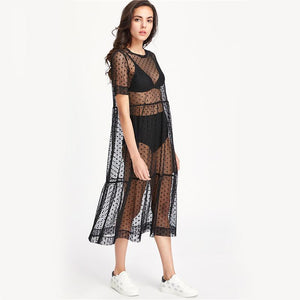 Sheer Dobby Mesh Dot Dress-Dresses-NUVO53