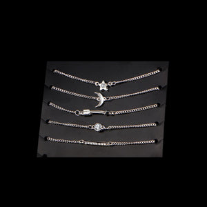 Star Moon Arrow Chain Bracelet 5 Piece Set-Fashion Jewelry Sets-NUVO53