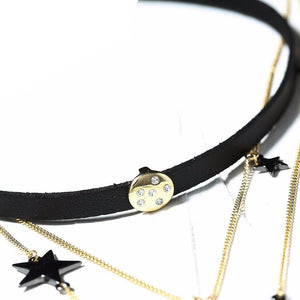Stars and Moon Crystal Pendant Leather Choker Chain Necklace-Necklace-NUVO53