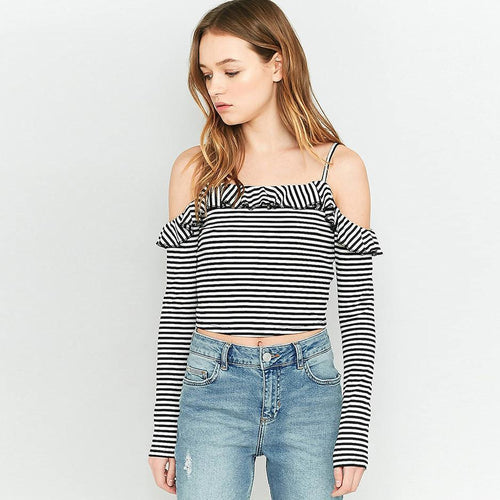 Stripe Off-The-Shoulder Crop Top-Women's Tops-NUVO53