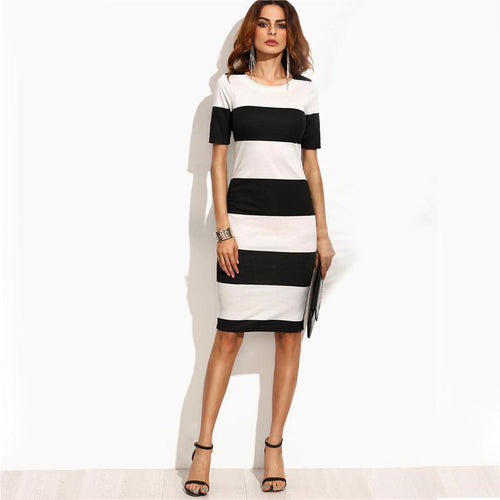 Stripe Short Sleeve Dress-Dresses-NUVO53