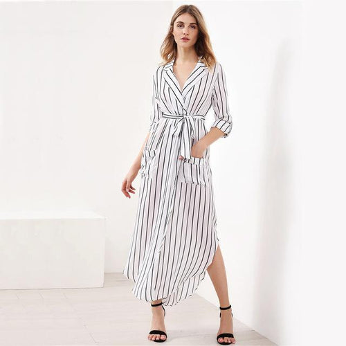 Striped Shirt Belt Maxi Dress-Dresses-NUVO53