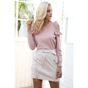 Suede Biker Pencil Mini Skirt-Skirts-NUVO53