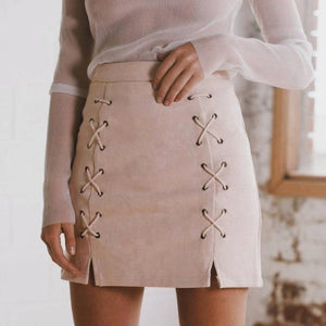 Suede Crisscross Mini Skirt-Skirts-NUVO53